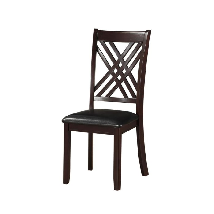Leatherette Wooden Side Chair with Cross Lattice Back, Set of 2, Black and Brown