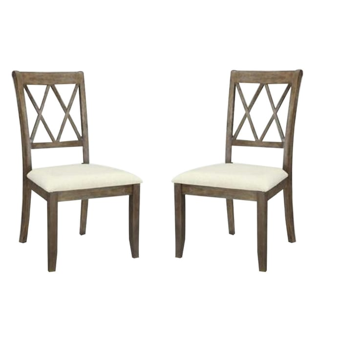 Fabric Padded Side Chairs with Double X Shaped Back, Set of 2, Brown