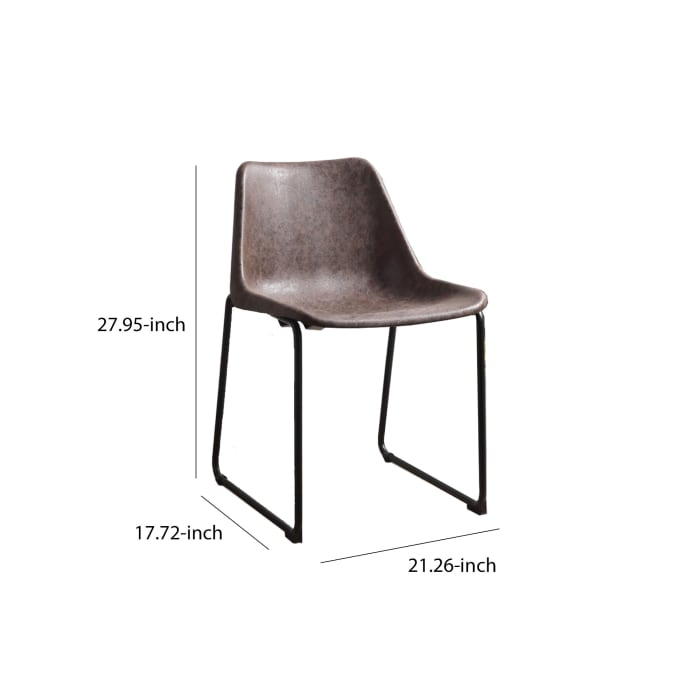 Set of Two Metallic Side Chairs with Leather Upholstered Seat, Vintage Mocha & Black