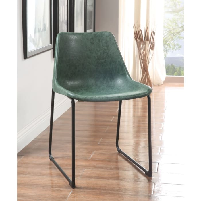 Set of Two Metallic Side Chairs with Leather Upholstered Seat, Vintage Green & Black