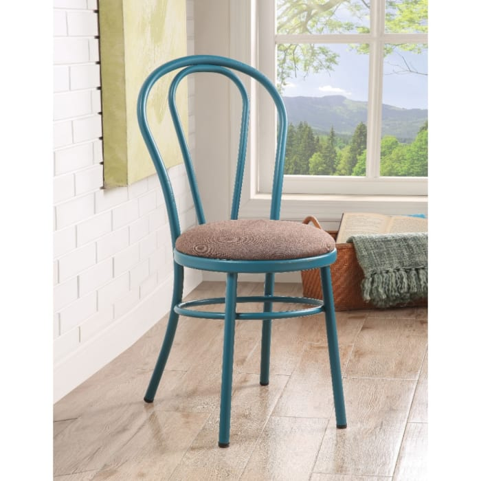 Set of Two Metal Side Chairs with Padded Seat, Teal