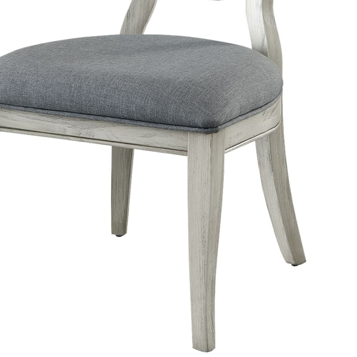 Fabric Upholstery Side Chair, White And Gray, Pack Of Two