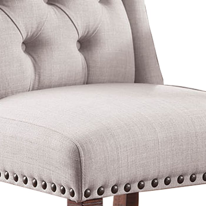 Button Tufted Fabric Upholstery Wingback Chair, Cream And Brown, Pack Of Two