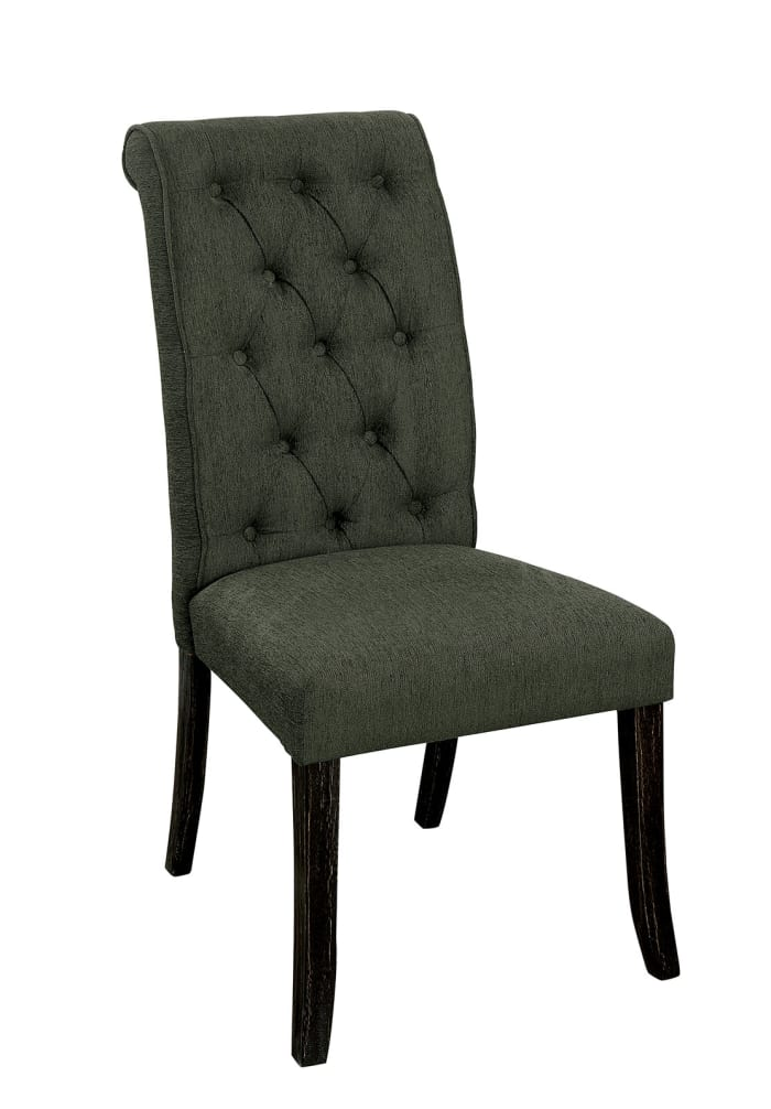 Button Tufted Wooden Fabric Upholstered Side Chair, Gray, Pack Of Two