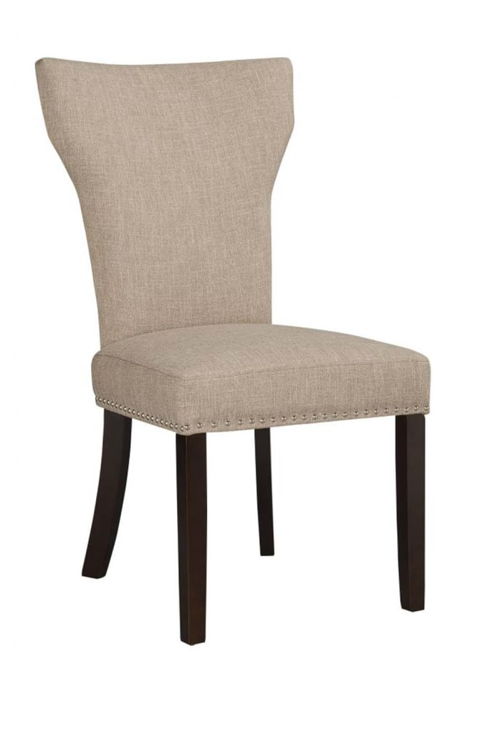 Fabric Upholstered Side Chair with Wingback Design, Set of 2, Oatmeal Brown