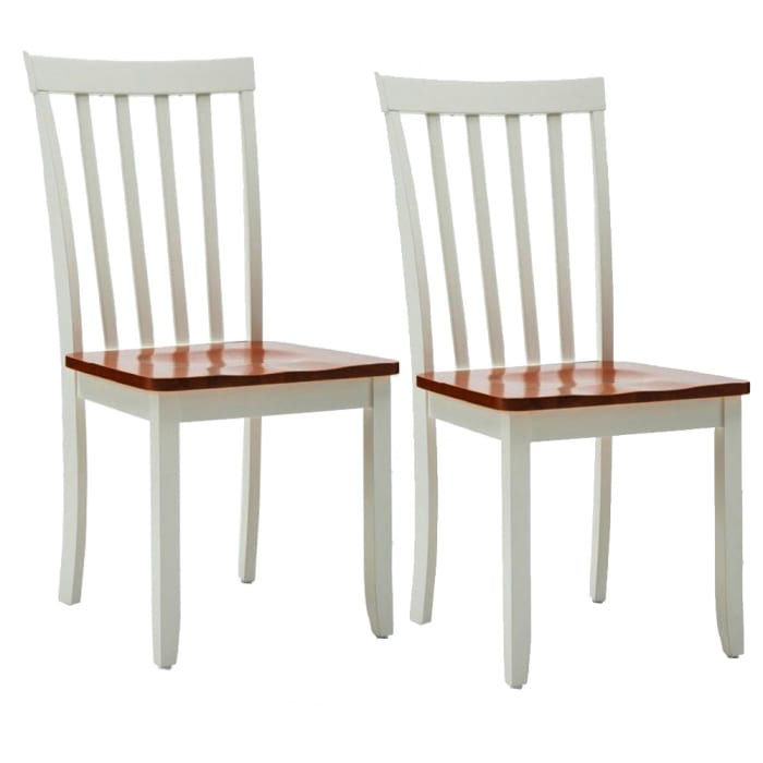 Wooden Seat Dining Chair with Slatted Backrest, Set of 2, Brown and White