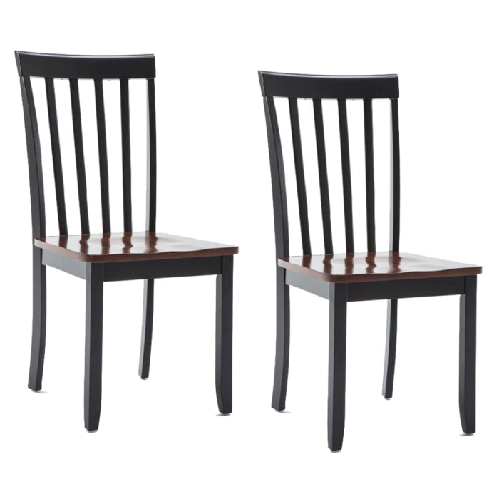 Wooden Seat Dining Chair with Slatted Backrest, Set of 2, Brown and Black