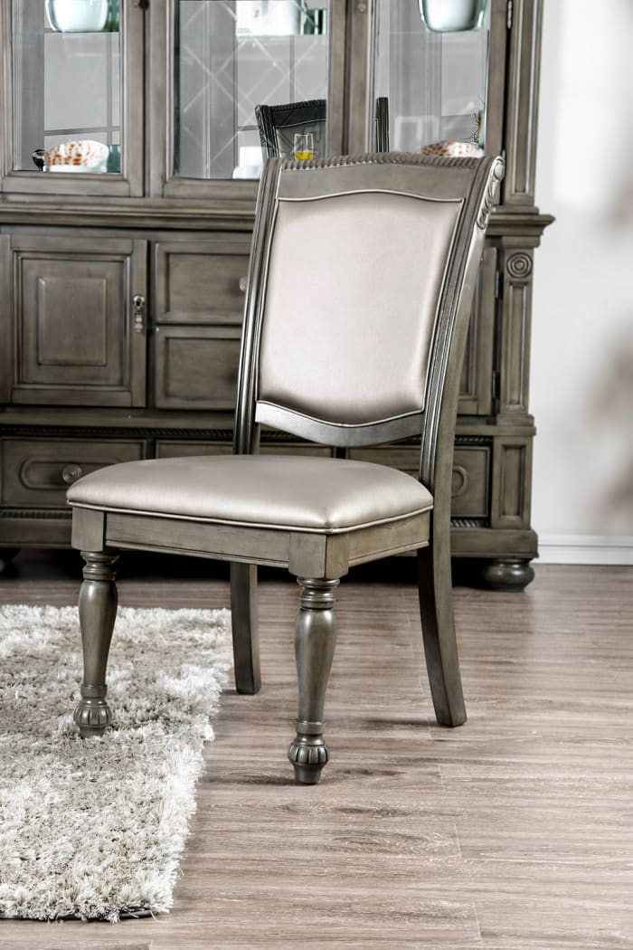Faux Leather Upholstered Solid Wood Side Chair, Pack of Two, Silver and Gray
