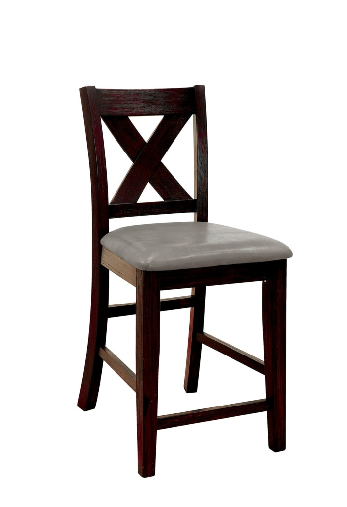 Solid Wood Counter Height Chair with X Cross Back Design, Pack of Two, Black and Gray