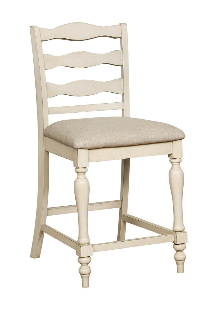 Ladder Back Wooden Counter Height Chair with Fabric Seat, Pack of Two, Antique White and Gray