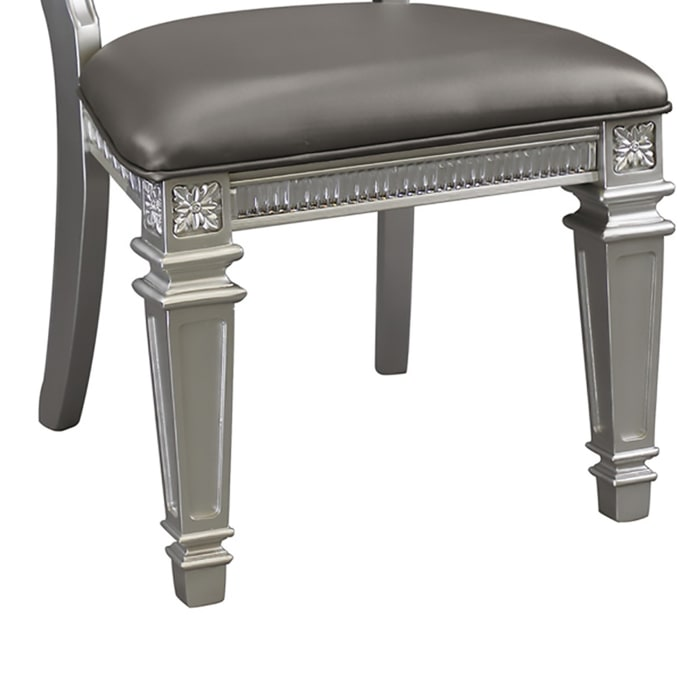 Faux Leather Upholstered Side Chair, Gray And Silver, Set of 2