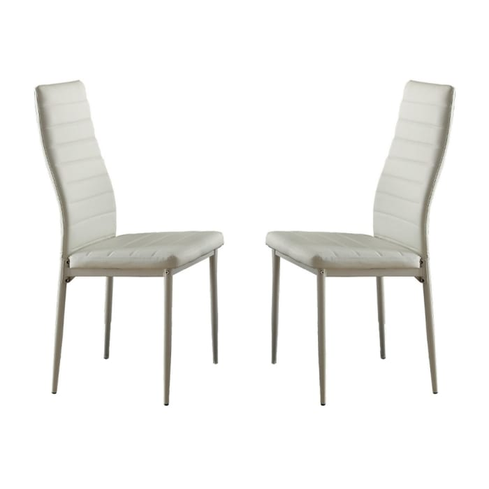 Bi Cast Vinyl Side Chairs With Curvy Backs, Set of 2, White