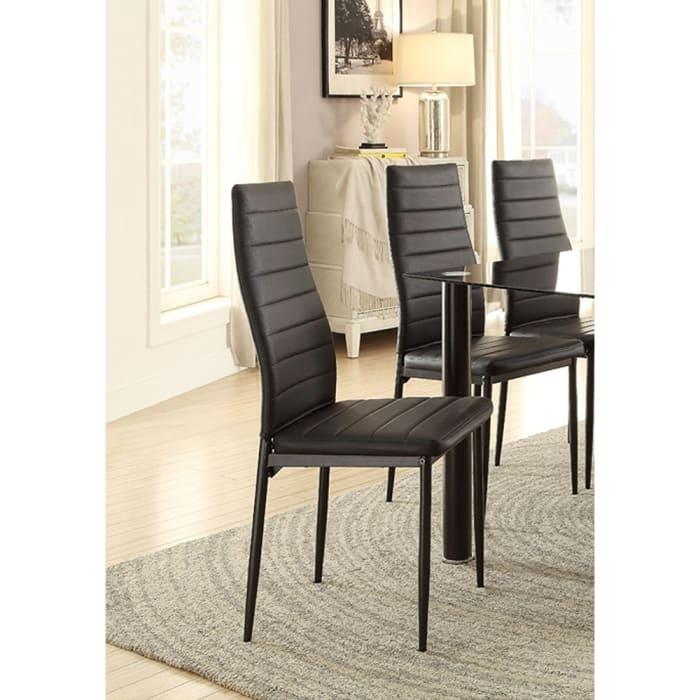 Bi Cast Vinyl Side Chairs With Curvy Backs, Set of 2, Black