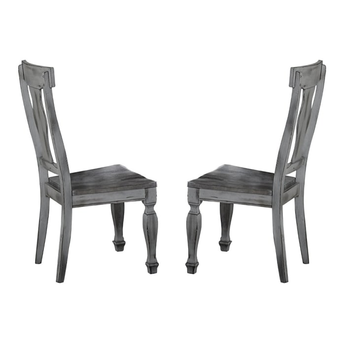 Wood Side Chair With Urn Backs, Set of 2, Gray