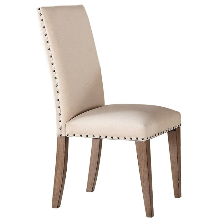 Wooden Side Chair Upholstered In Fabric With Nail head Trim, Cream & Brown, Set of 2
