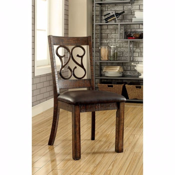 Scroll Design Back Side Chair with Straight Legs, Set of 2, Rustic Brown