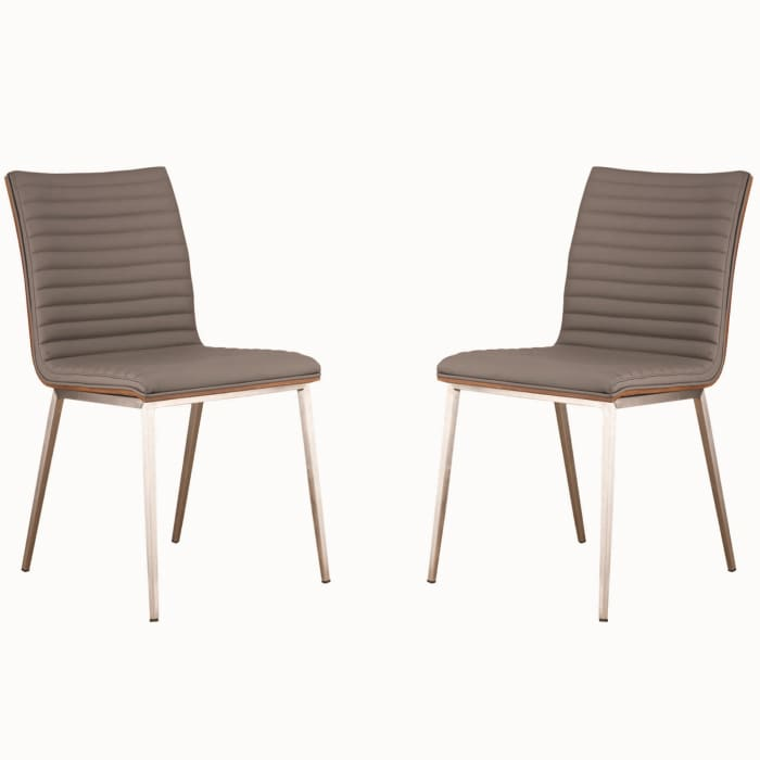 Horizontally Tufted Leatherette Dining Chair with Metal Legs, Set of 2,Gray