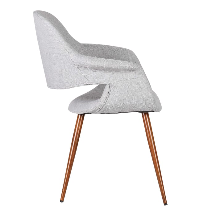 Fabric Mid Century Dining Chair with Round Tapered Legs, Gray and Brown