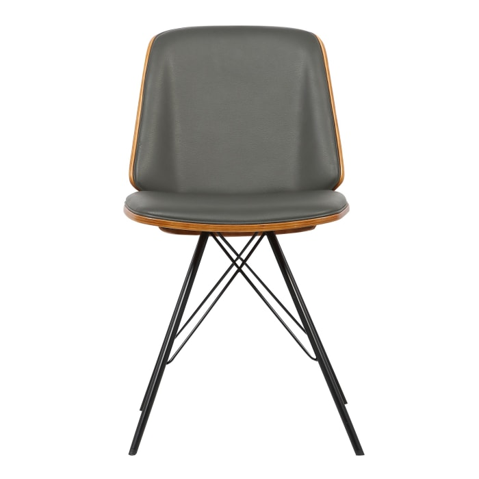 Leatherette Dining Chair with Tubular Metal Legs and Braces, Gray