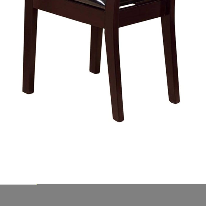 Comfortable Dining Chair With Lustrous Finish Seat, Set of Two, Dark Brown