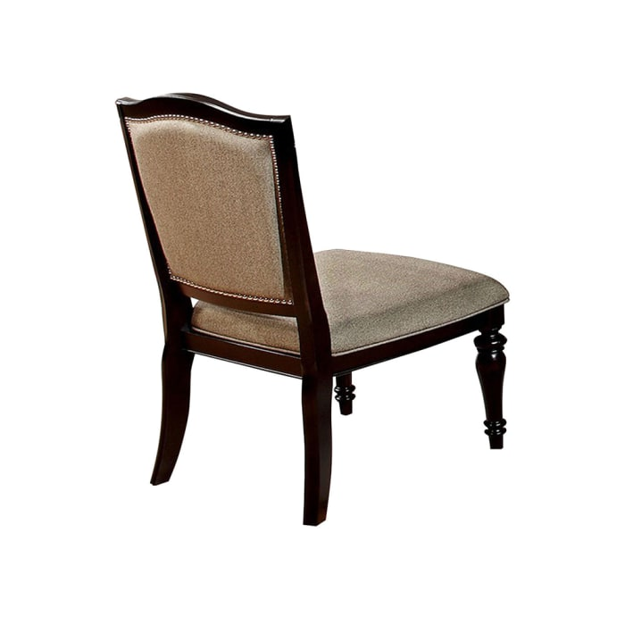 Harrington Transitional Side Chair, Brown Finish, Set of 2