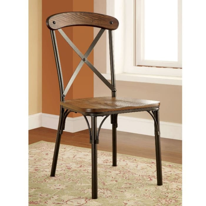 Wood and Metal Side Chair with X Shape Back, Set of 2, Brown and Bronze