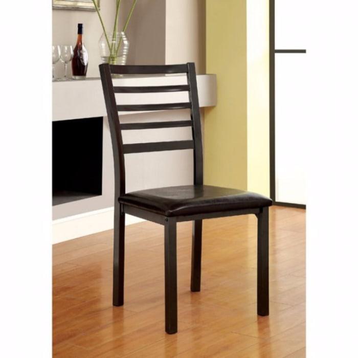 Wooden Leatherette Side Chair with Ladder Back Design, Set of 4, Black