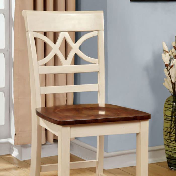 Wooden Side Chair with Cut Out Back, Set of 2, Brown and White