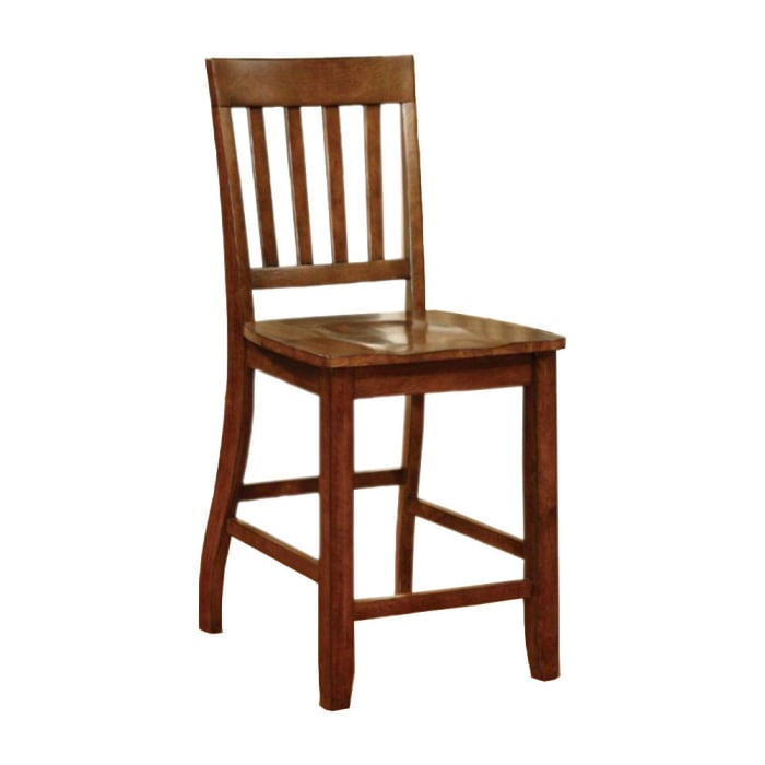 Counter Height Wooden Chair with Slatted Backrest, Set of 2, Brown