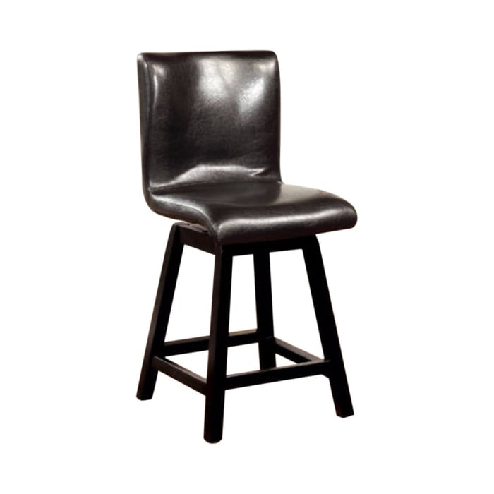 Leatherette Counter Height Chair with Swivel Seat, Set of 2, Espresso Brown