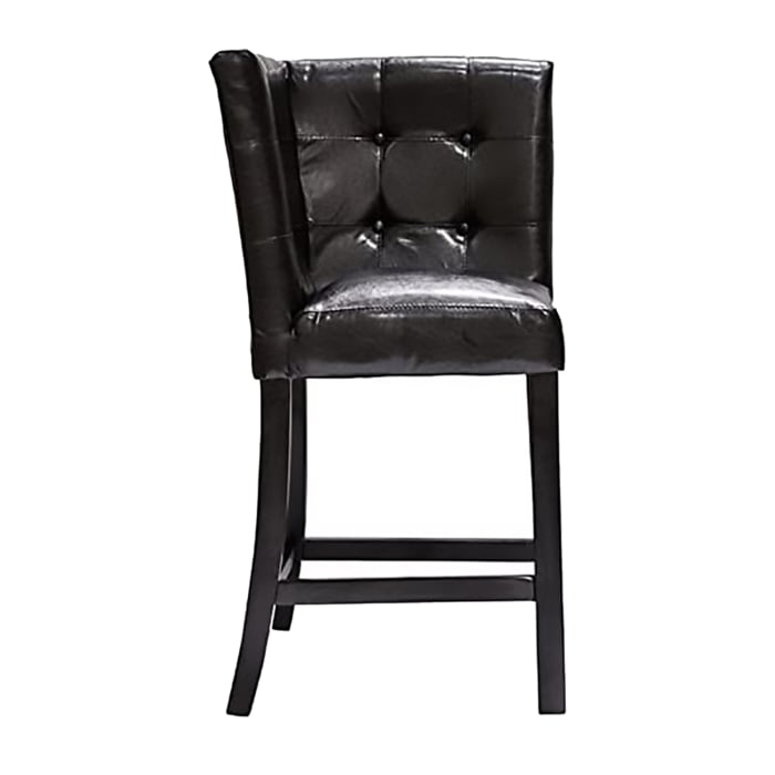 Leathrette Upholstered Wooden Corner Counter Height Chair with Button Tufted Back, Black