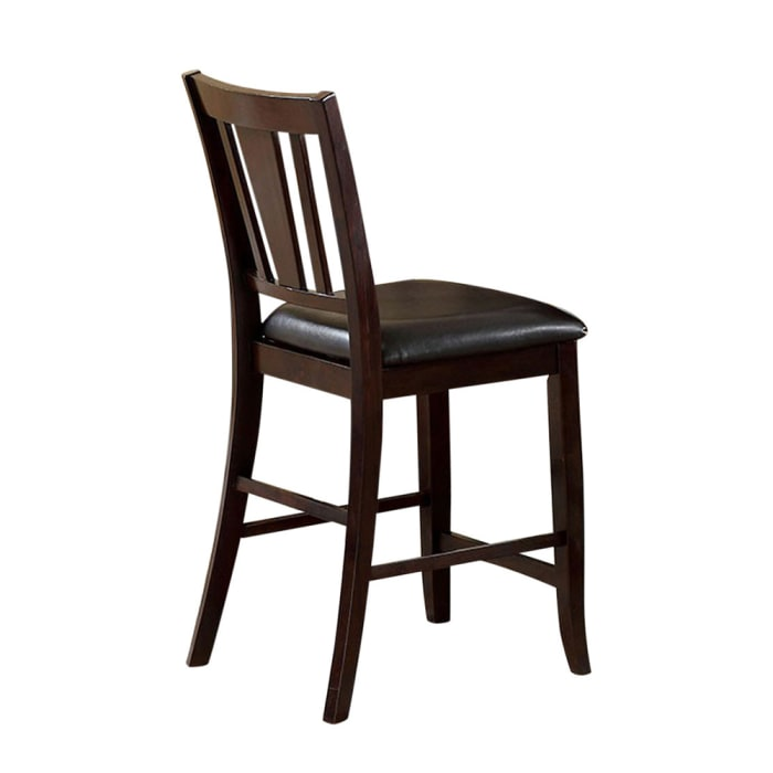 Leatherette Wooden Side Chair with Slatted Back, Set of 2, Brown
