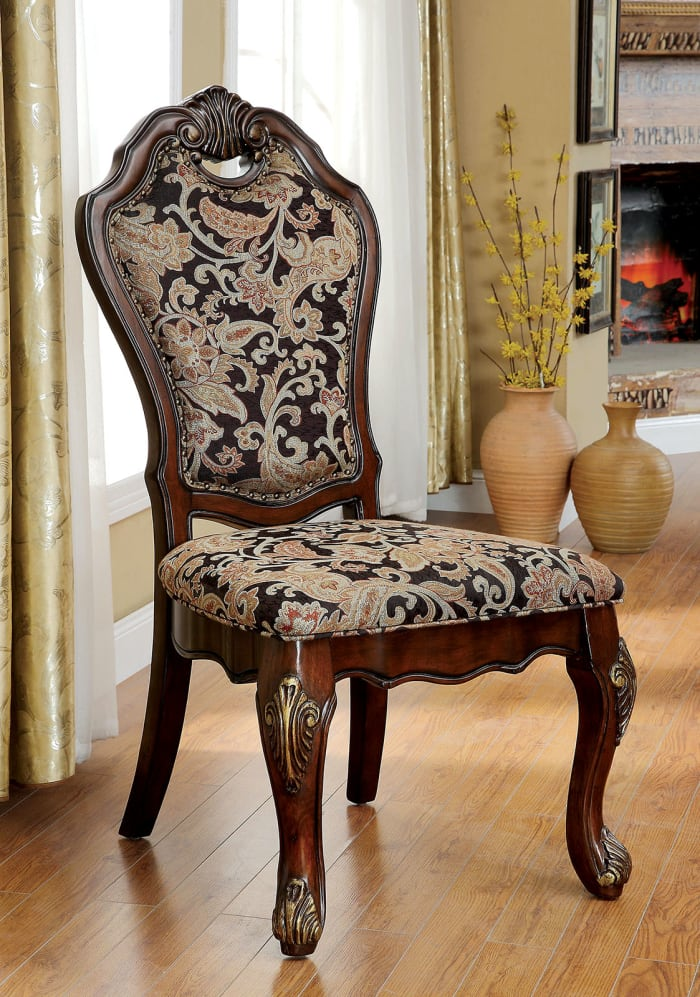 Vicente Traditional Side Chair, Cherry Finish, Set of 2