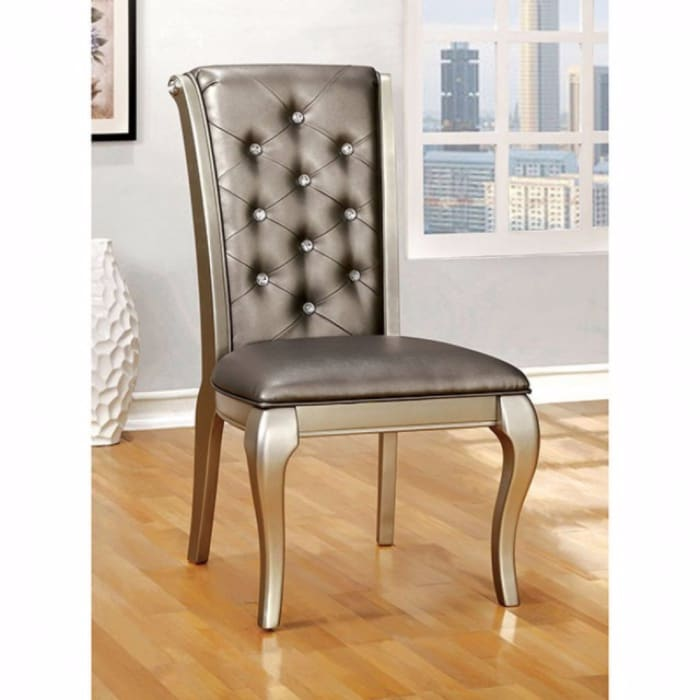 Leatherette Buttoned Side Chair with Cabriole Legs, Set of 2, Gray and Gold