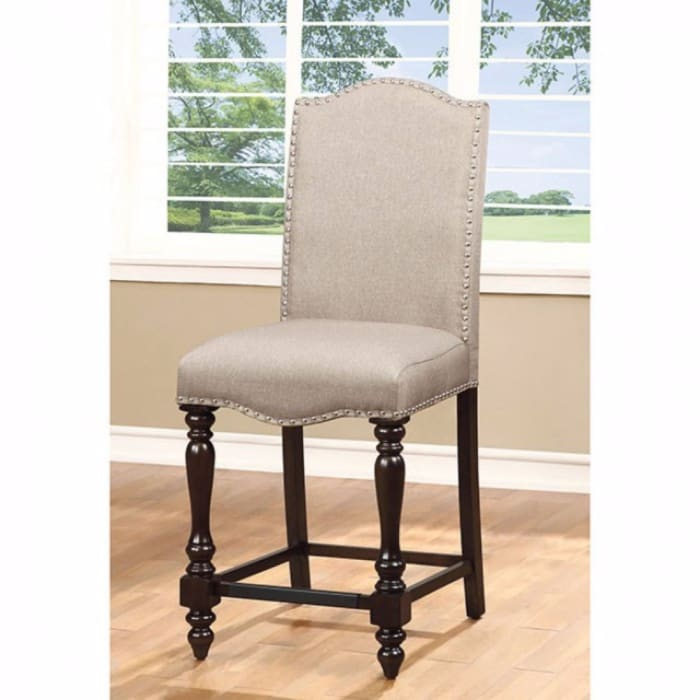 Fabric Seat Counter Height Chair with Turned Legs, Set of 2,Brown and Beige