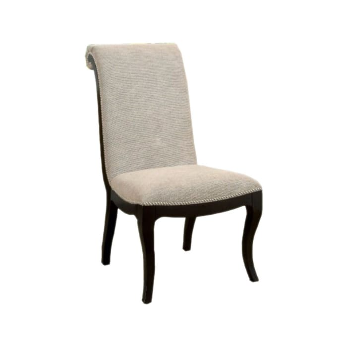 Fabric Upholstered Wooden Side Chair, Set of 2, Gray and Black