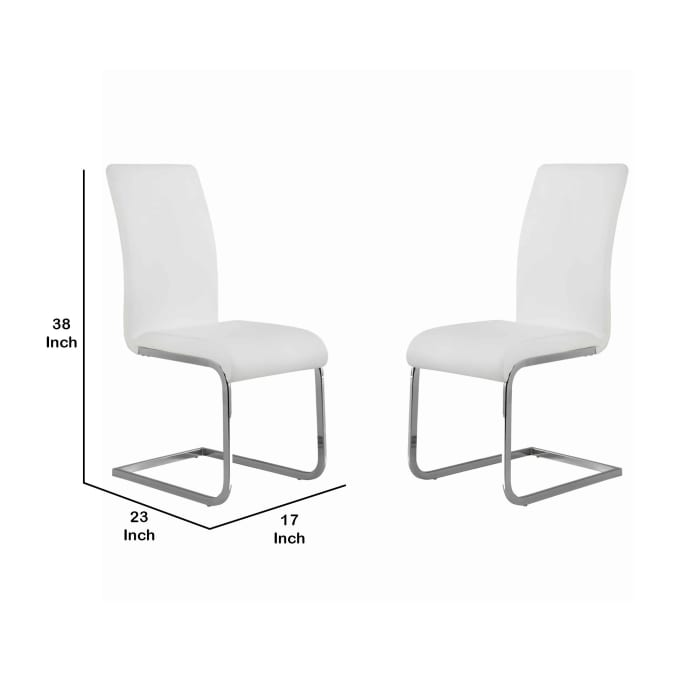 Metal Cantilever Base Leatherette Dining Chair, Set of 2, White and Silver