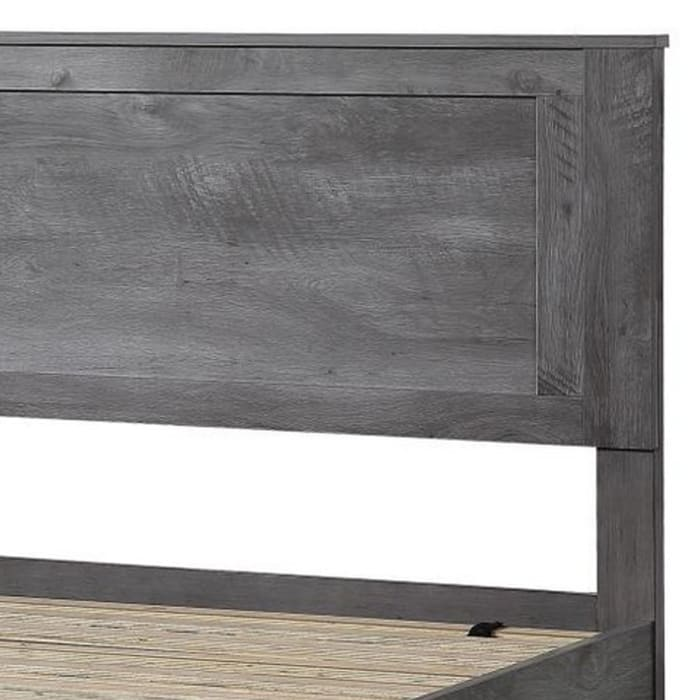 Rustic Eastern King Wooden Bed with Storage, Gray Oak