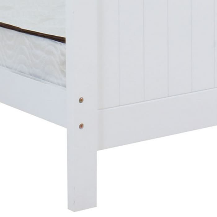Transitional Style Wooden Twin Panel Bed, White