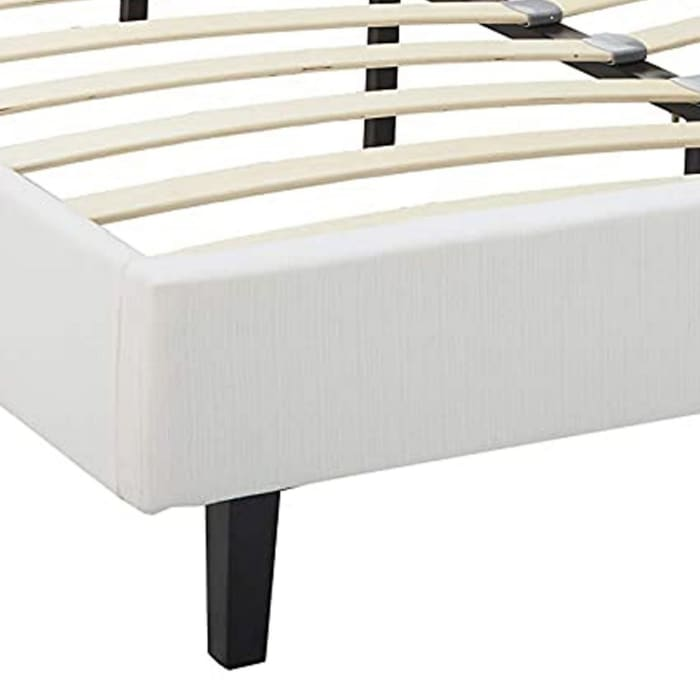 Transitional Style Leatherette Queen Bed with Padded Headboard, White