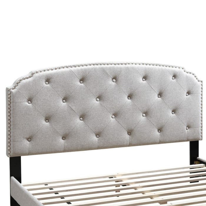 Twin Bed with Button Tufted Scalloped Headboard, Light Brown
