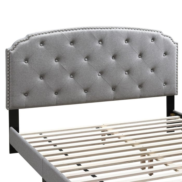 Queen Bed with Button Tufted Scalloped Headboard, Light Gray