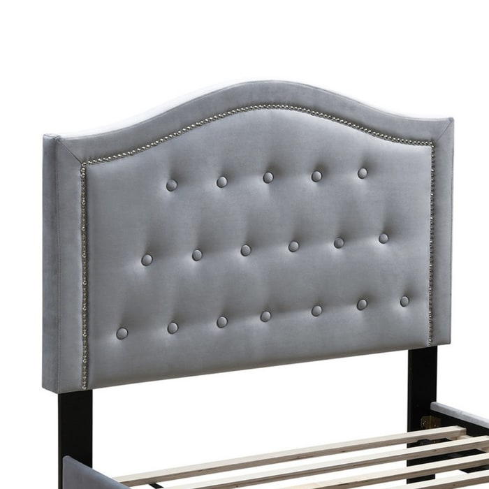 Button Tufted Queen Velvet Bed with Curved Headboard, Gray