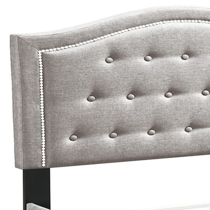 Button Tufted Queen Burlap Bed with Curved Headboard, Light Brown