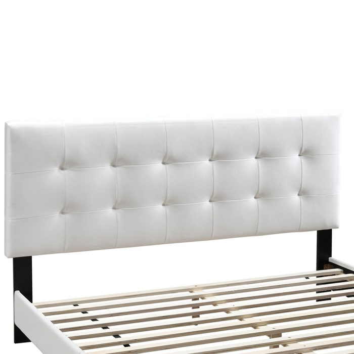 Twin Leatherette Bed with Checkered Tufted Headboard, White