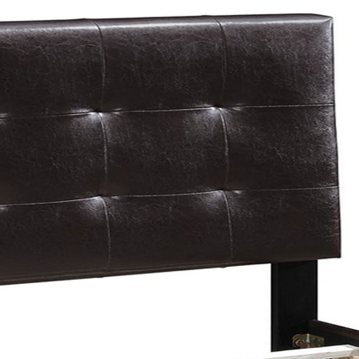 Queen Leatherette Bed with Checkered Tufted Headboard, Dark Brown