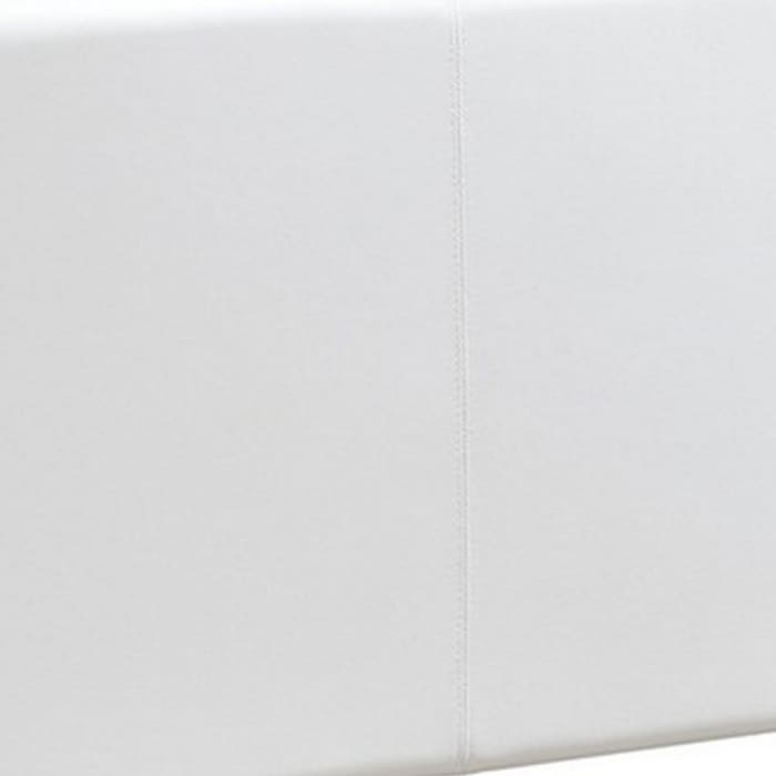 Transitional Style Leatherette Twin Bed with Padded Headboard, White