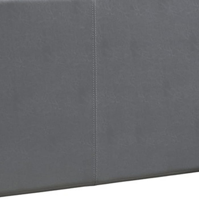 Transitional Style Leatherette Twin Bed with Padded Headboard, Gray
