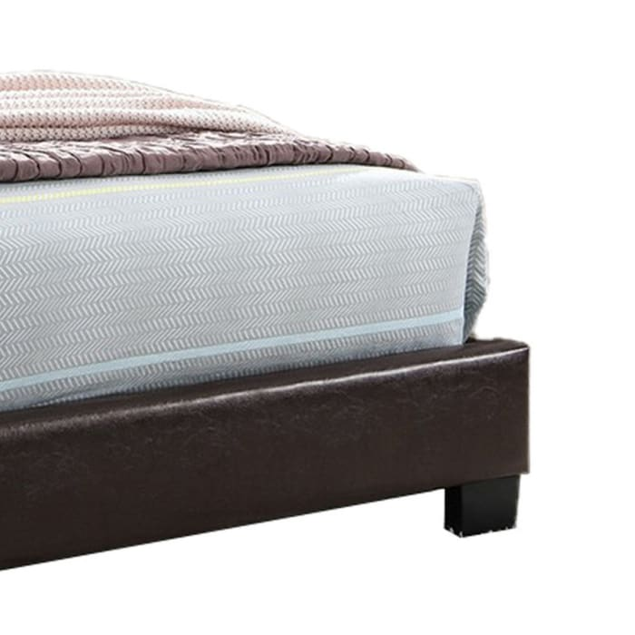 Transitional Style Leatherette Twin Bed with Padded Headboard, Dark Brown