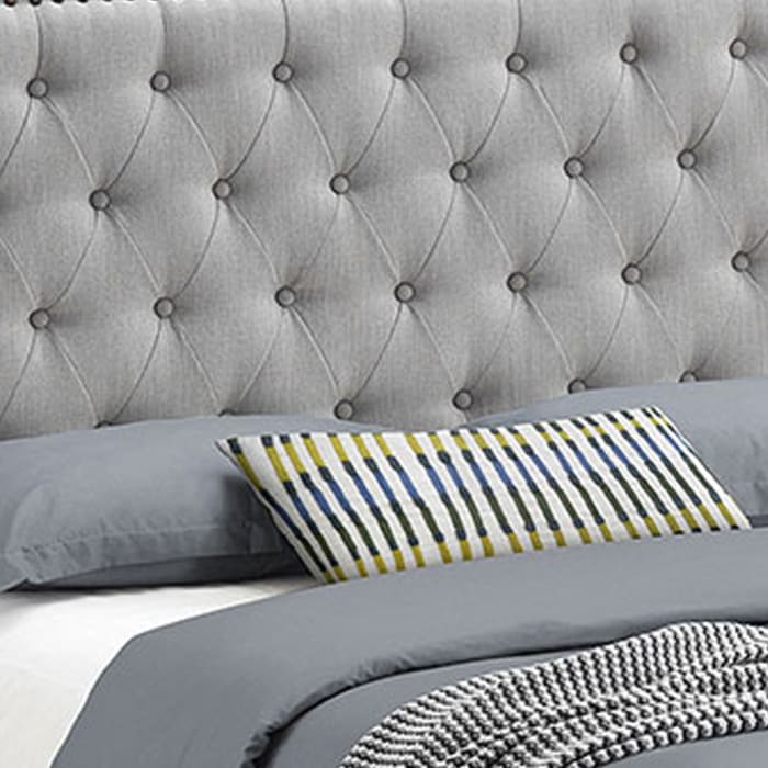 Tufted Eastern King Fabric Bed with Nailhead Trim, Gray